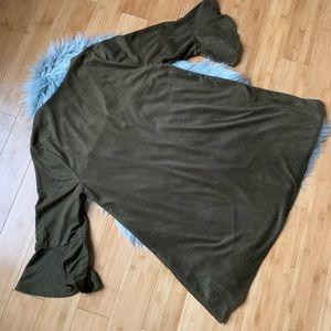 Umgee Dresses - Umgee Olive Floral-embroidery Boho Suede Dress